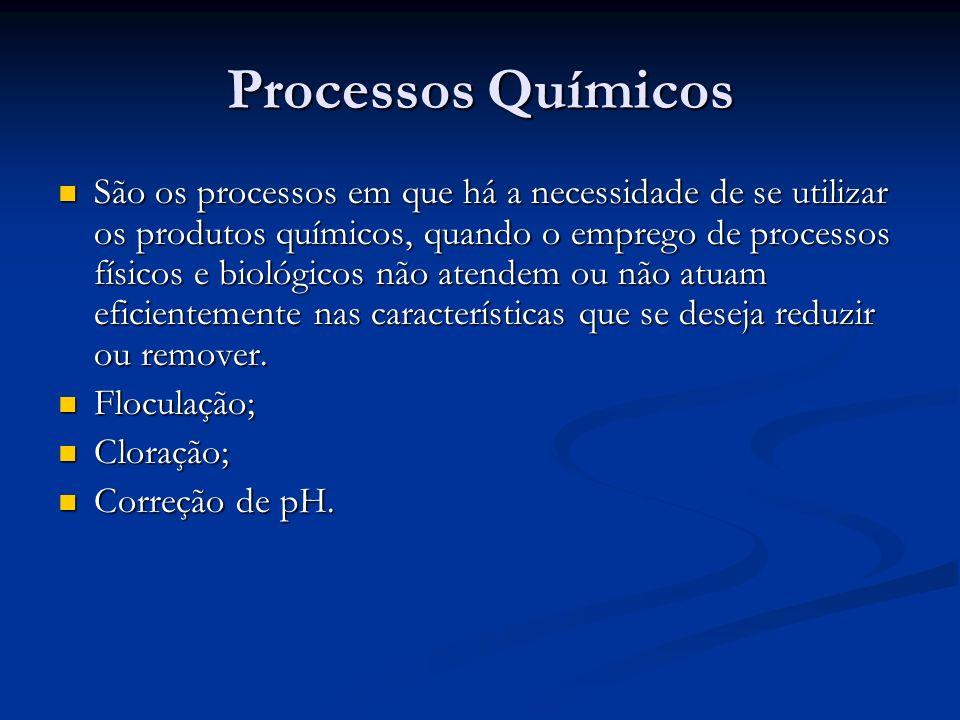 Processos Químicos São os processos em que há a necessidade de se utilizar os produtos químicos, quando o emprego de processos físicos e biológicos nã