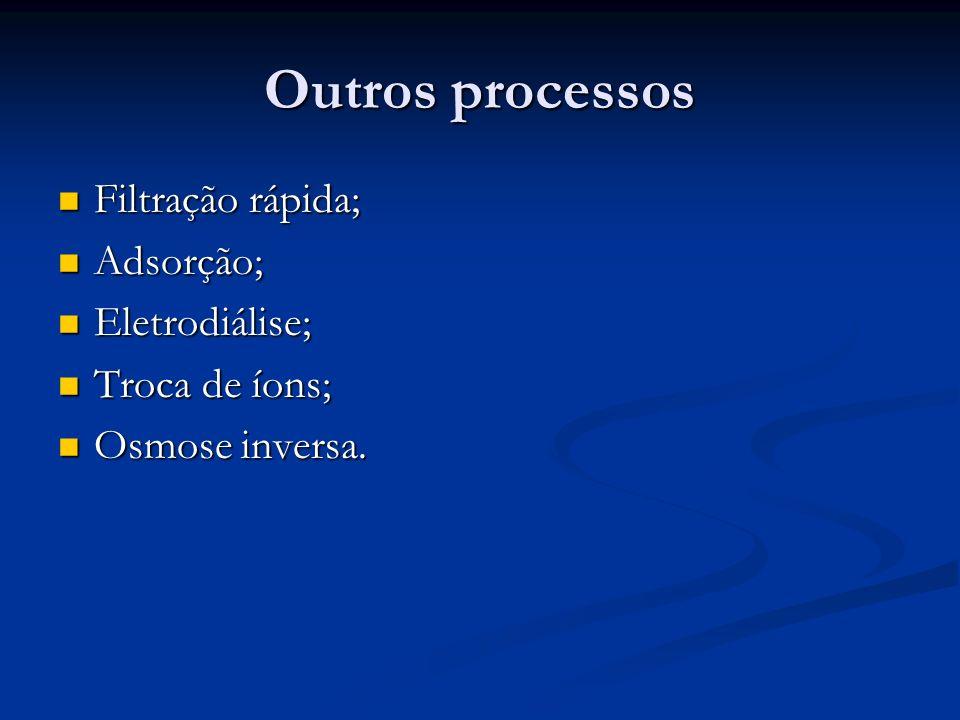 Outros processos Filtração rápida; Filtração rápida; Adsorção; Adsorção; Eletrodiálise; Eletrodiálise; Troca de íons; Troca de íons; Osmose inversa. O