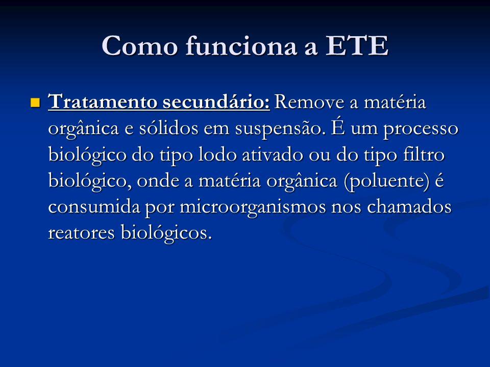 Como funciona a ETE Tratamento secundário: Remove a matéria orgânica e sólidos em suspensão. É um processo biológico do tipo lodo ativado ou do tipo f