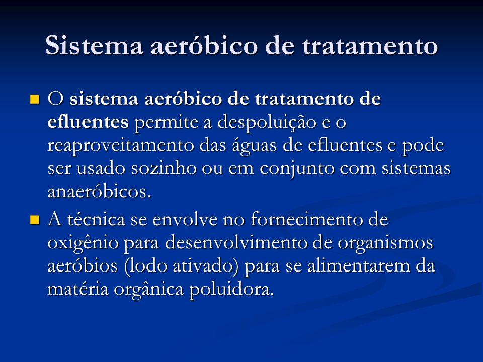 Sistema aeróbico de tratamento O sistema aeróbico de tratamento de efluentes permite a despoluição e o reaproveitamento das águas de efluentes e pode