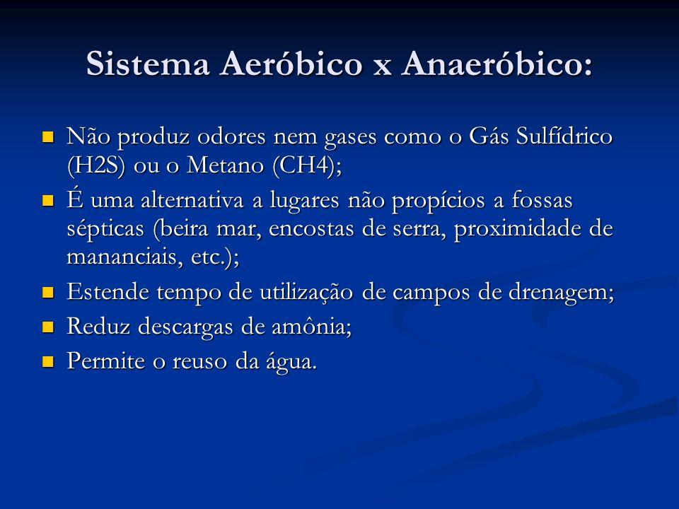 Sistema Aeróbico x Anaeróbico: Não produz odores nem gases como o Gás Sulfídrico (H2S) ou o Metano (CH4); Não produz odores nem gases como o Gás Sulfí