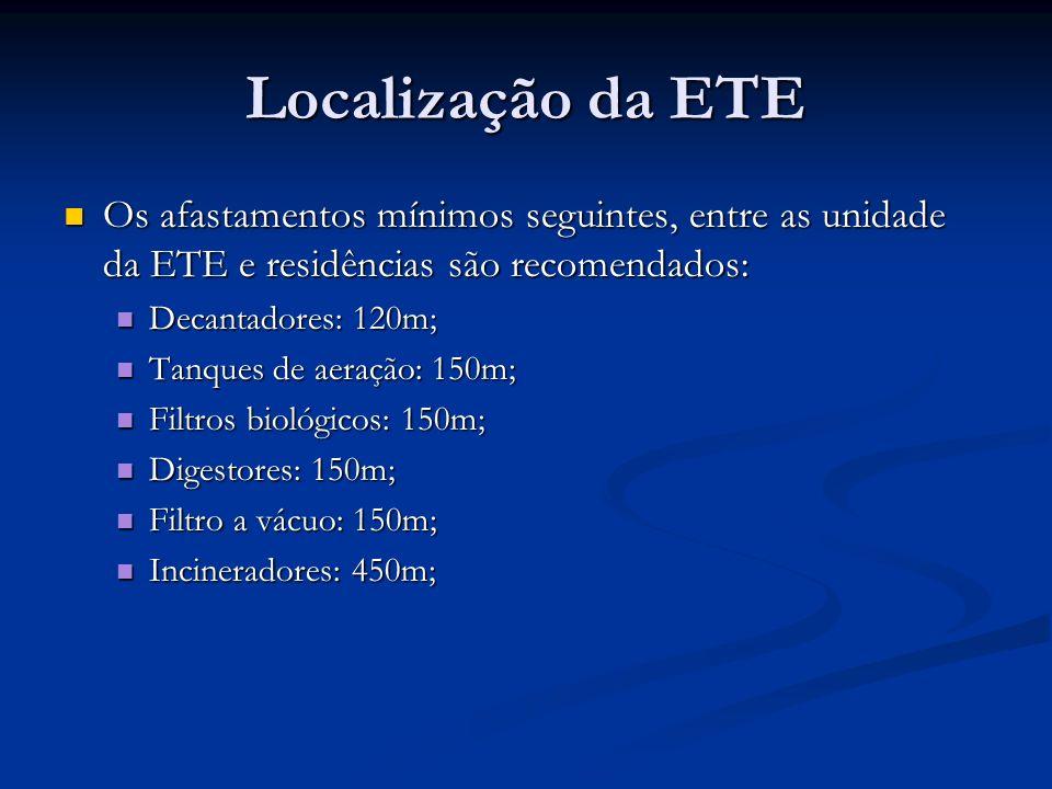 Localização da ETE Os afastamentos mínimos seguintes, entre as unidade da ETE e residências são recomendados: Os afastamentos mínimos seguintes, entre