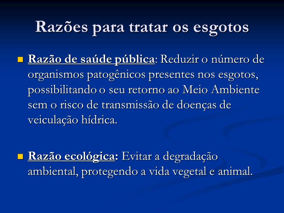 Razões para tratar os esgotos Razão de saúde pública: Reduzir o número de organismos patogênicos presentes nos esgotos, possibilitando o seu retorno a