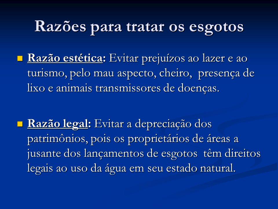 Razões para tratar os esgotos Razão estética: Evitar prejuízos ao lazer e ao turismo, pelo mau aspecto, cheiro, presença de lixo e animais transmissor