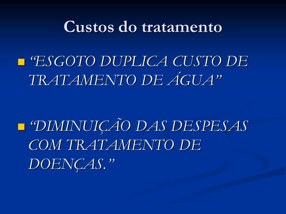 Custos do tratamento ESGOTO DUPLICA CUSTO DE TRATAMENTO DE ÁGUA ESGOTO DUPLICA CUSTO DE TRATAMENTO DE ÁGUA DIMINUIÇÃO DAS DESPESAS COM TRATAMENTO DE D