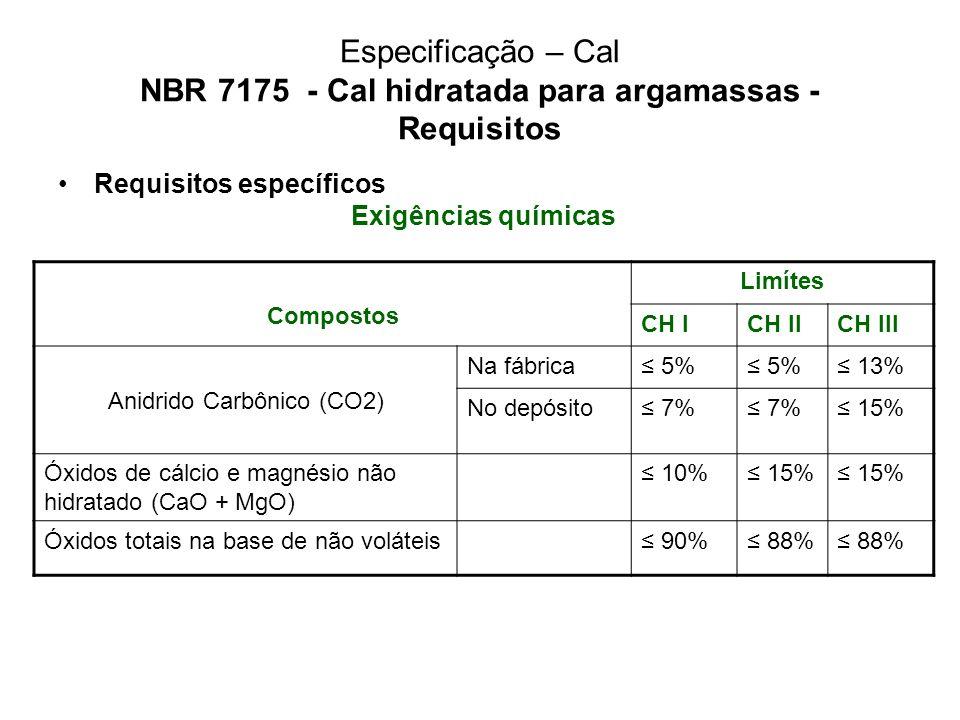 Especificação – Cal NBR 7175 - Cal hidratada para argamassas - Requisitos Requisitos específicos Exigências químicas Compostos Limítes CH ICH IICH III