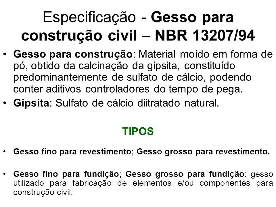 Especificação - Gesso para construção civil – NBR 13207/94 Gesso para construção: Material moído em forma de pó, obtido da calcinação da gipsita, cons