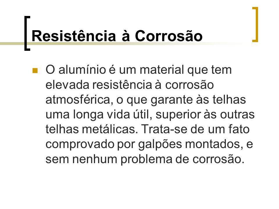 Resistência à Corrosão O alumínio é um material que tem elevada resistência à corrosão atmosférica, o que garante às telhas uma longa vida útil, super