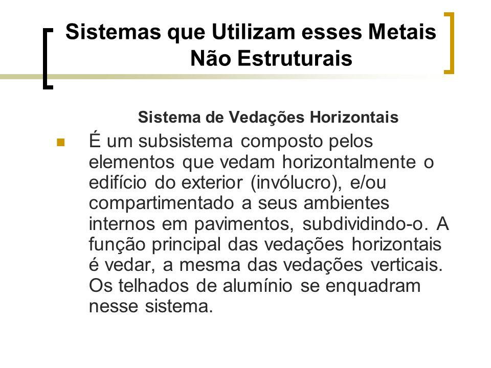 Sistemas que Utilizam esses Metais Não Estruturais Sistema de Vedações Horizontais É um subsistema composto pelos elementos que vedam horizontalmente