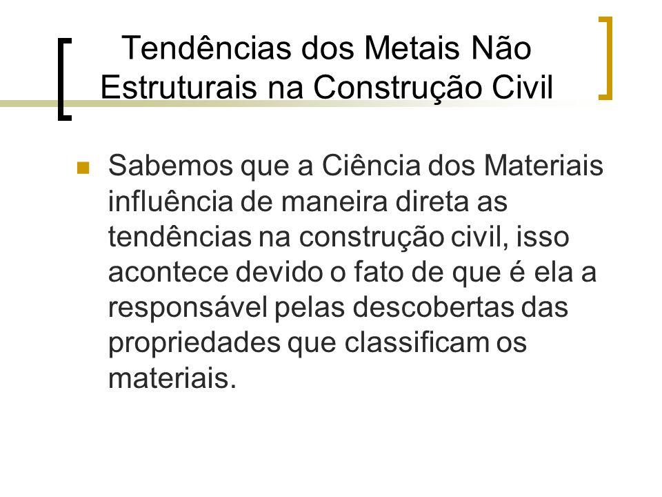 Tendências dos Metais Não Estruturais na Construção Civil Sabemos que a Ciência dos Materiais influência de maneira direta as tendências na construção