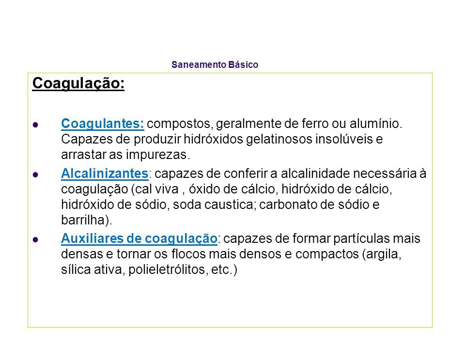 Saneamento Básico Coagulação: Coagulantes: compostos, geralmente de ferro ou alumínio. Capazes de produzir hidróxidos gelatinosos insolúveis e arrasta