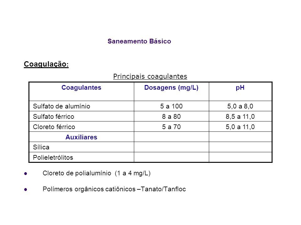 Saneamento Básico Coagulação : Principais coagulantes Cloreto de polialumínio (1 a 4 mg/L) Polímeros orgânicos catiônicos –Tanato/Tanfloc CoagulantesD