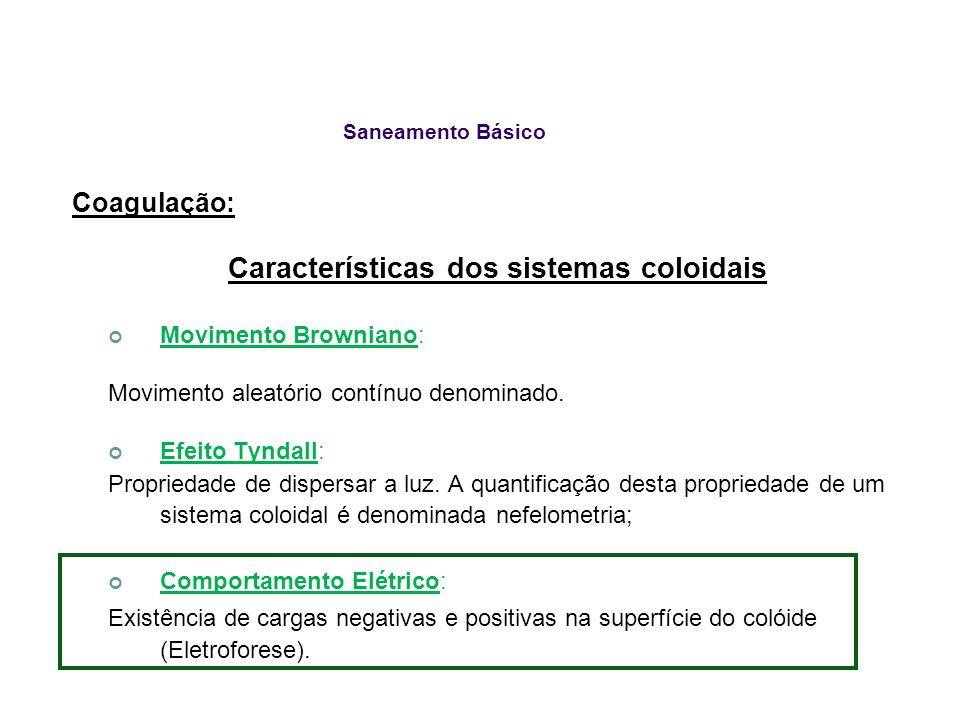 Saneamento Básico Coagulação: Características dos sistemas coloidais Movimento Browniano: Movimento aleatório contínuo denominado. Efeito Tyndall: Pro