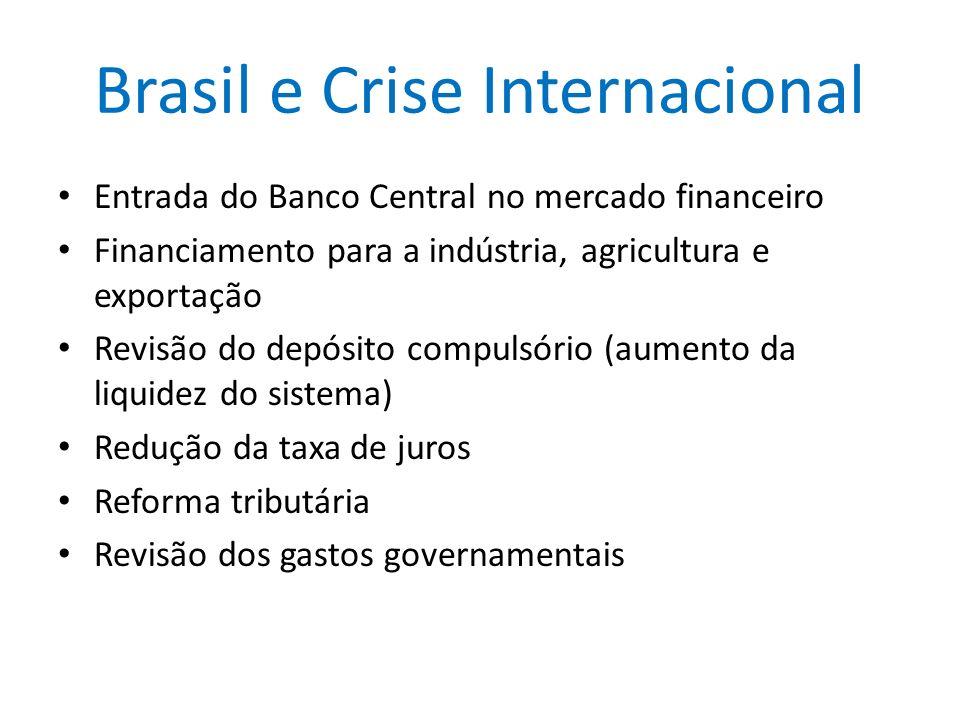 Brasil e Crise Internacional Entrada do Banco Central no mercado financeiro Financiamento para a indústria, agricultura e exportação Revisão do depósi