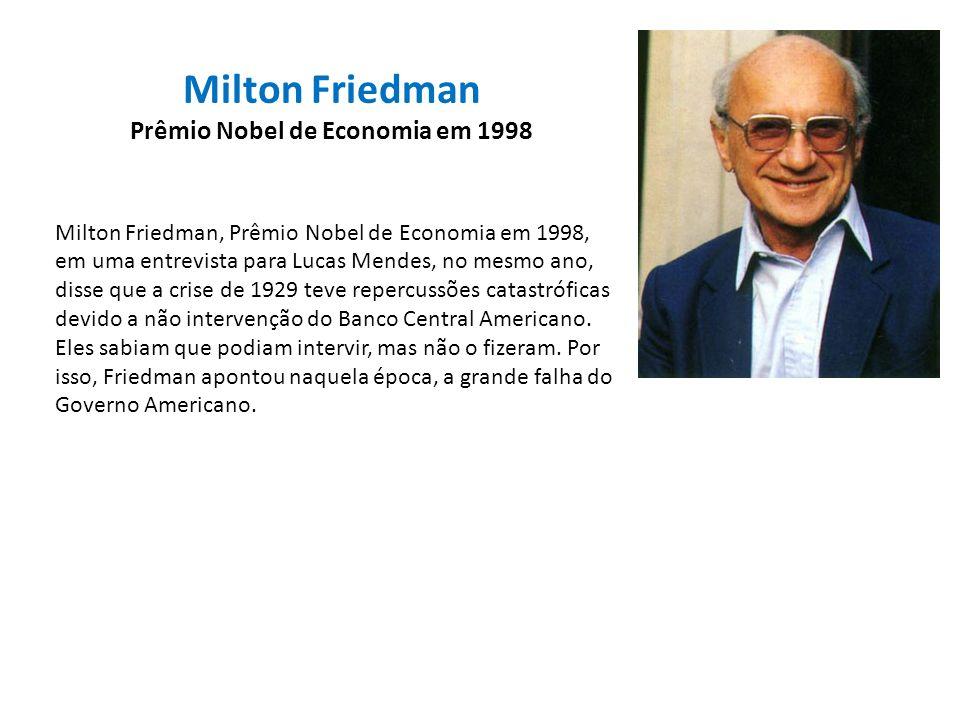 Milton Friedman Prêmio Nobel de Economia em 1998 Milton Friedman, Prêmio Nobel de Economia em 1998, em uma entrevista para Lucas Mendes, no mesmo ano,