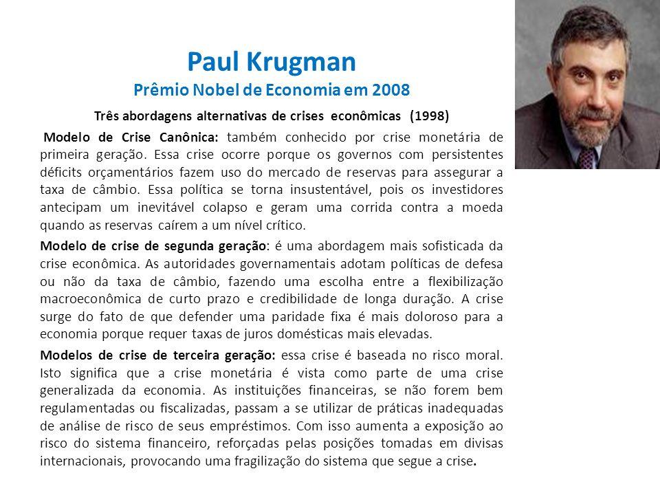Paul Krugman Prêmio Nobel de Economia em 2008 Três abordagens alternativas de crises econômicas (1998) Modelo de Crise Canônica: também conhecido por