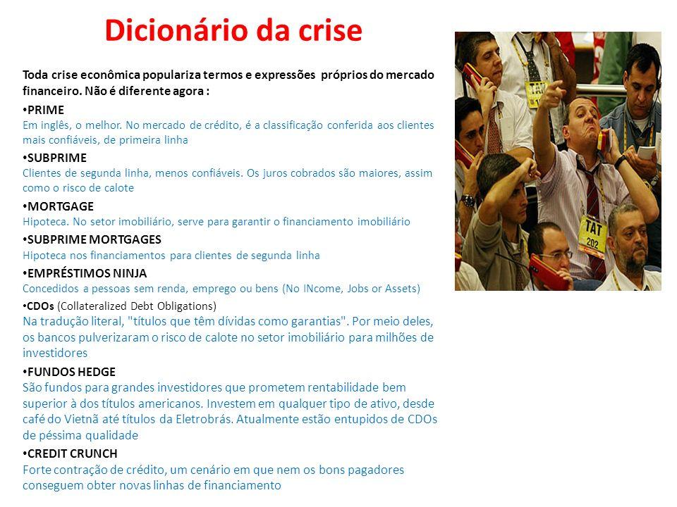 Dicionário da crise Toda crise econômica populariza termos e expressões próprios do mercado financeiro. Não é diferente agora : PRIME Em inglês, o mel