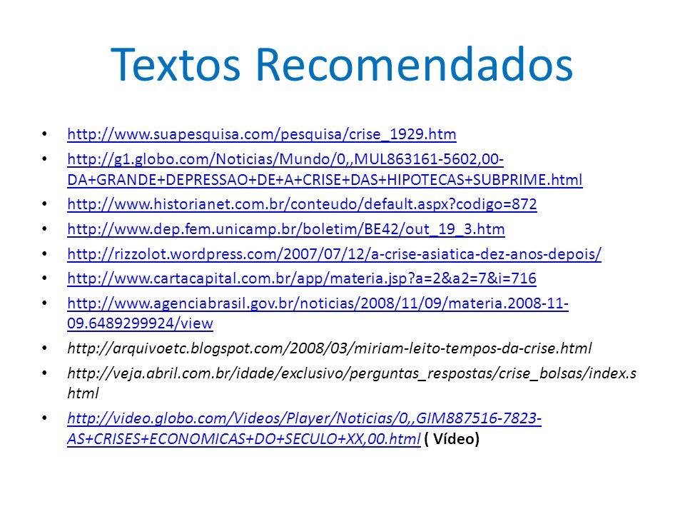 Textos Recomendados http://www.suapesquisa.com/pesquisa/crise_1929.htm http://g1.globo.com/Noticias/Mundo/0,,MUL863161-5602,00- DA+GRANDE+DEPRESSAO+DE