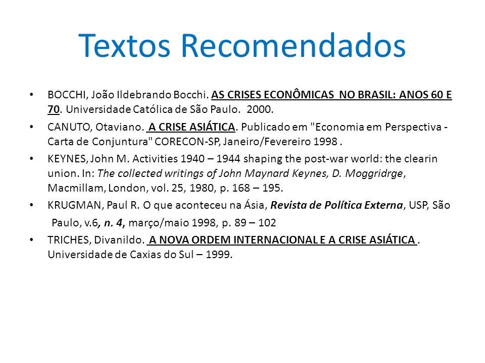Textos Recomendados BOCCHI, João Ildebrando Bocchi. AS CRISES ECONÔMICAS NO BRASIL: ANOS 60 E 70. Universidade Católica de São Paulo. 2000. CANUTO, Ot