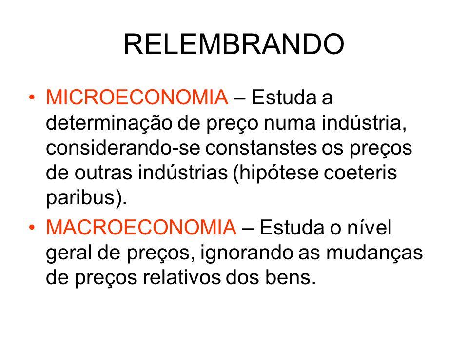 RELEMBRANDO MICROECONOMIA – Estuda a determinação de preço numa indústria, considerando-se constanstes os preços de outras indústrias (hipótese coeter