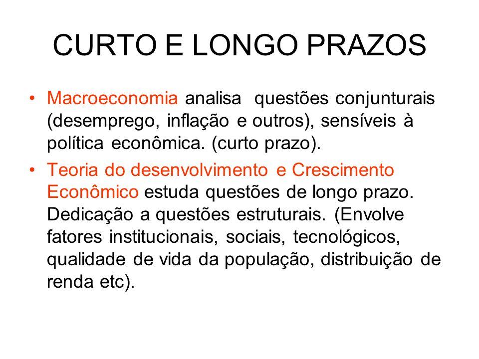 CURTO E LONGO PRAZOS Macroeconomia analisa questões conjunturais (desemprego, inflação e outros), sensíveis à política econômica. (curto prazo). Teori