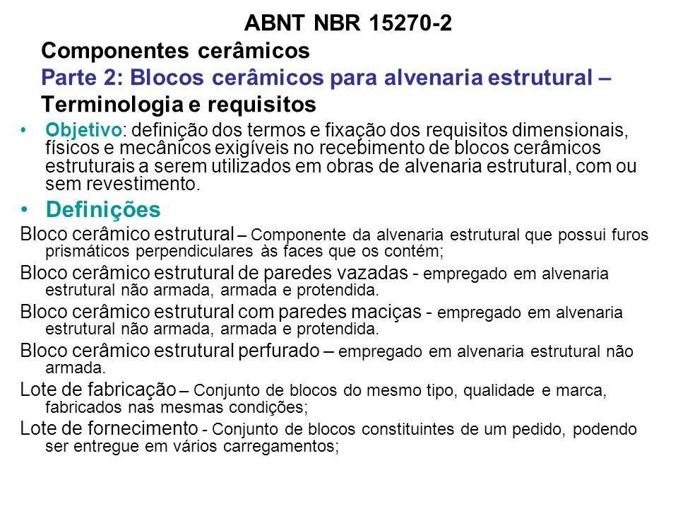 ABNT NBR 15270-2 Componentes cerâmicos Parte 2: Blocos cerâmicos para alvenaria estrutural – Terminologia e requisitos Objetivo: definição dos termos