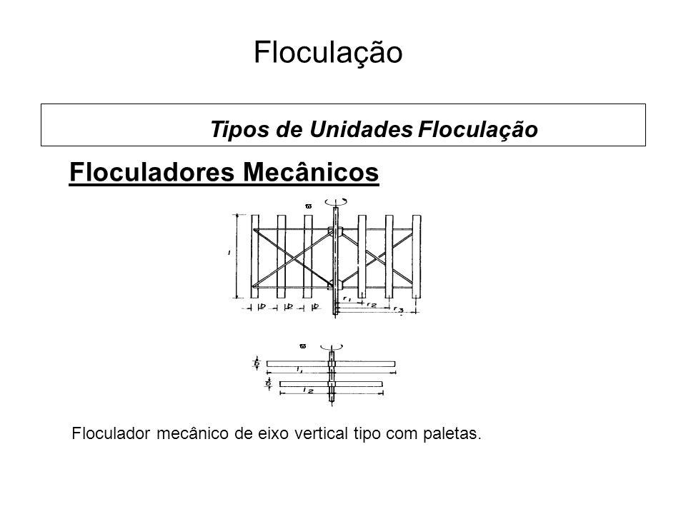 5 Floculação Floculadores Mecânicos Tipos de Unidades Floculação Floculador mecânico de eixo vertical tipo com paletas.