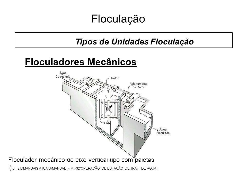 5 Floculação Floculadores Mecânicos Tipos de Unidades Floculação Floculador mecânico de eixo vertical tipo com paletas ( fonte:L\MANUAIS ATUAIS\MANUAL – MT-32/OPERAÇÃO DE ESTAÇÃO DE TRAT.