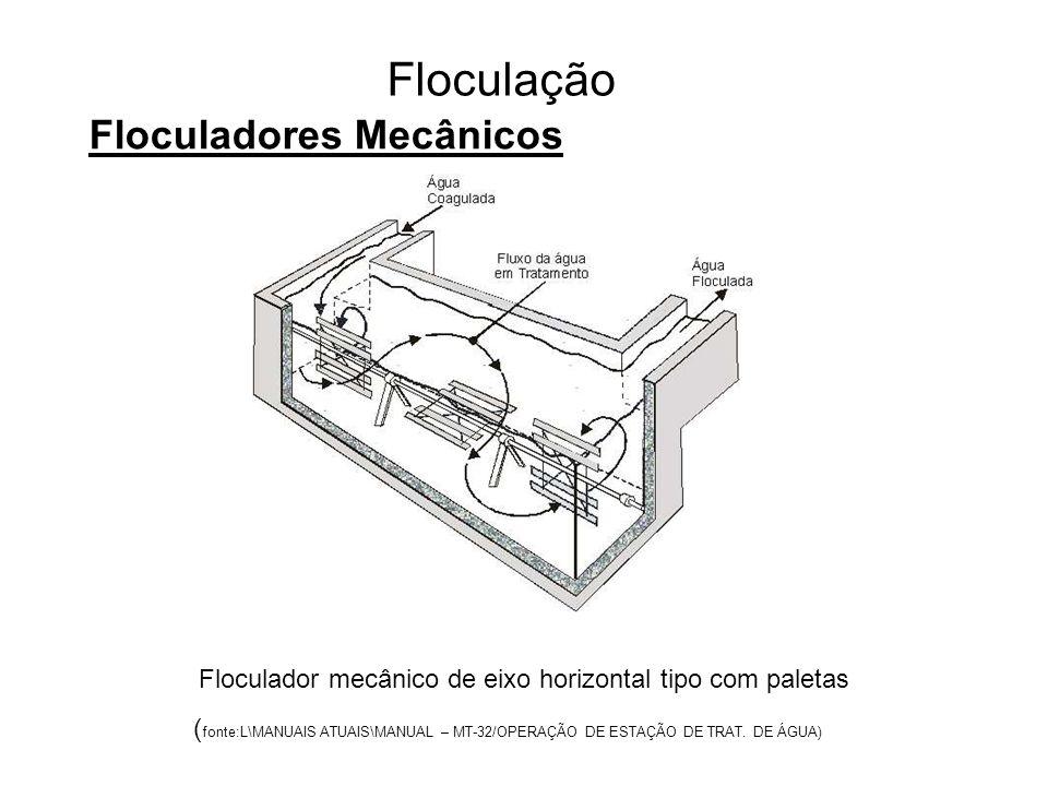 5 Floculação Floculadores Mecânicos Floculador mecânico de eixo horizontal tipo com paletas ( fonte:L\MANUAIS ATUAIS\MANUAL – MT-32/OPERAÇÃO DE ESTAÇÃO DE TRAT.