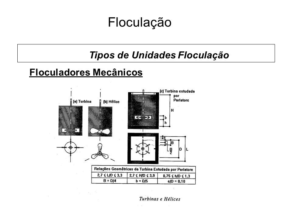 5 Floculação Floculadores Mecânicos Tipos de Unidades Floculação