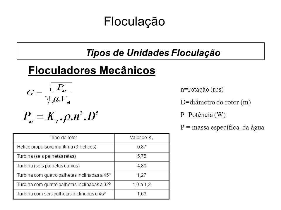 5 Floculação Floculadores Mecânicos Tipos de Unidades Floculação n=rotação (rps) D=diâmetro do rotor (m) P=Potência (W) Ρ = massa específica da água Tipo de rotorValor de K T Hélice propulsora marítima (3 hélices)0,87 Turbina (seis palhetas retas)5,75 Turbina (seis palhetas curvas)4,80 Turbina com quatro palhetas inclinadas a 45 0 1,27 Turbina com quatro palhetas inclinadas a 32 0 1,0 a 1,2 Turbina com seis palhetas inclinadas a 45 0 1,63