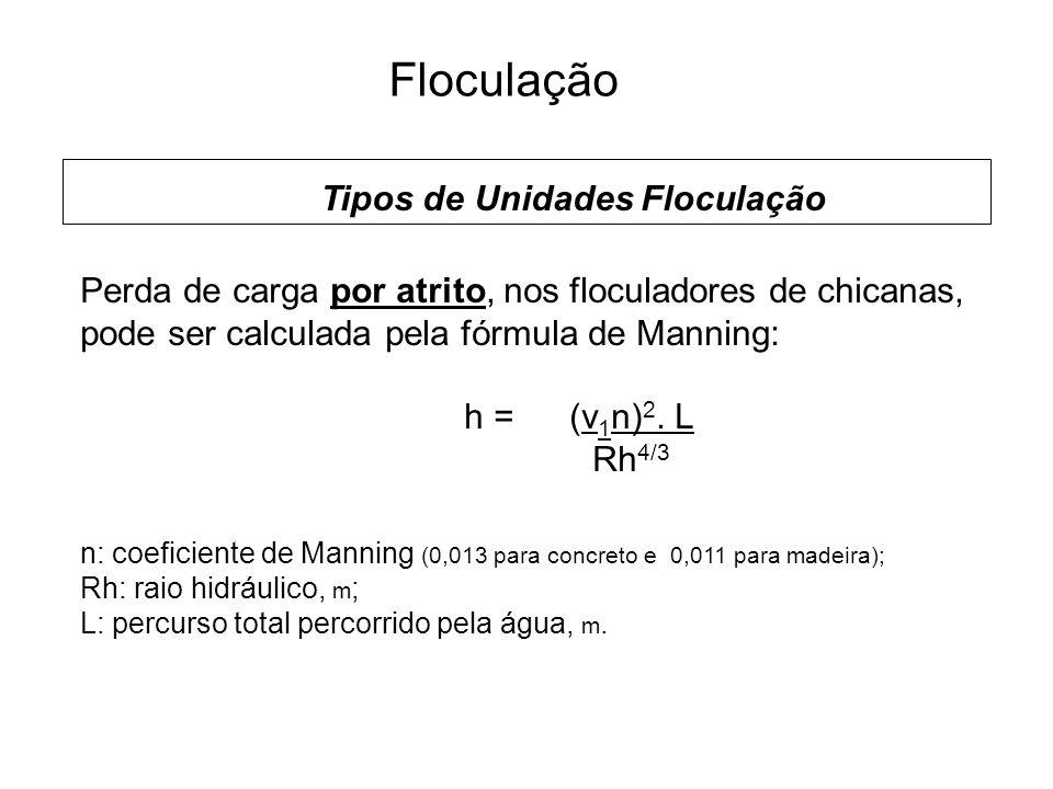 5 Floculação Tipos de Unidades Floculação Perda de carga por atrito, nos floculadores de chicanas, pode ser calculada pela fórmula de Manning: h = (v 1 n) 2.