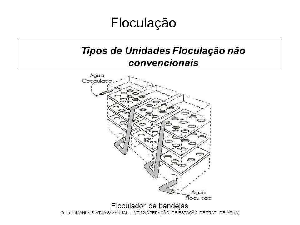 5 Floculação Tipos de Unidades Floculação não convencionais Floculador de bandejas (fonte:L\MANUAIS ATUAIS\MANUAL – MT-32/OPERAÇÃO DE ESTAÇÃO DE TRAT.