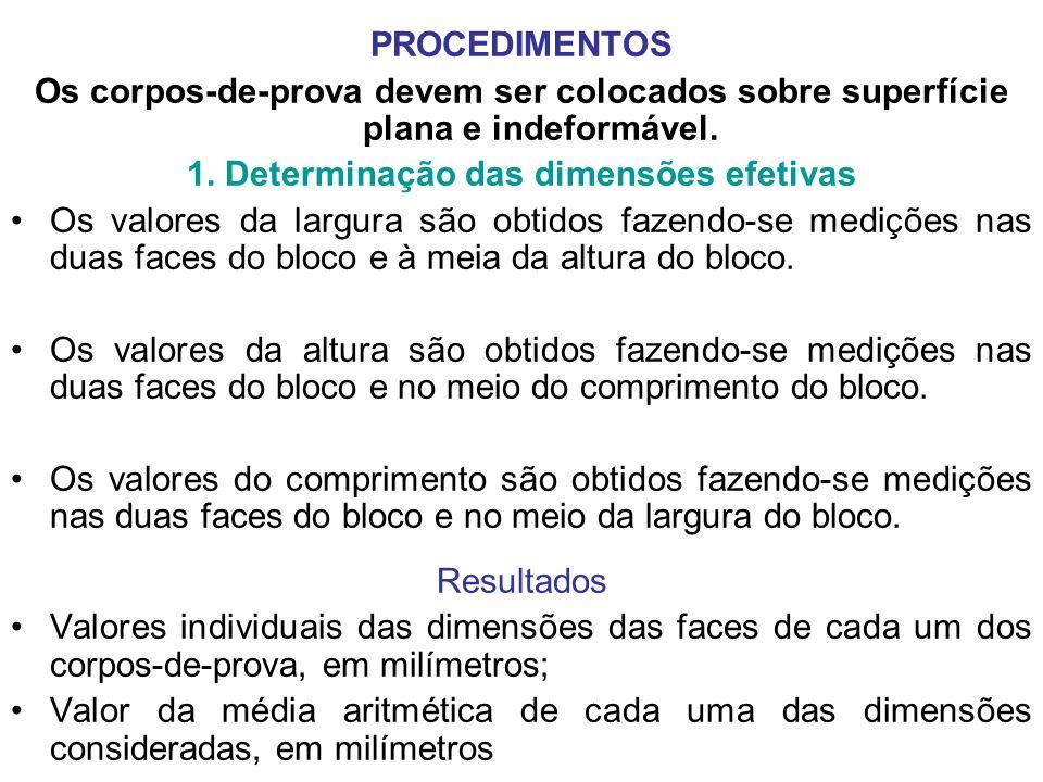 PROCEDIMENTOS Os corpos-de-prova devem ser colocados sobre superfície plana e indeformável. 1. Determinação das dimensões efetivas Os valores da largu