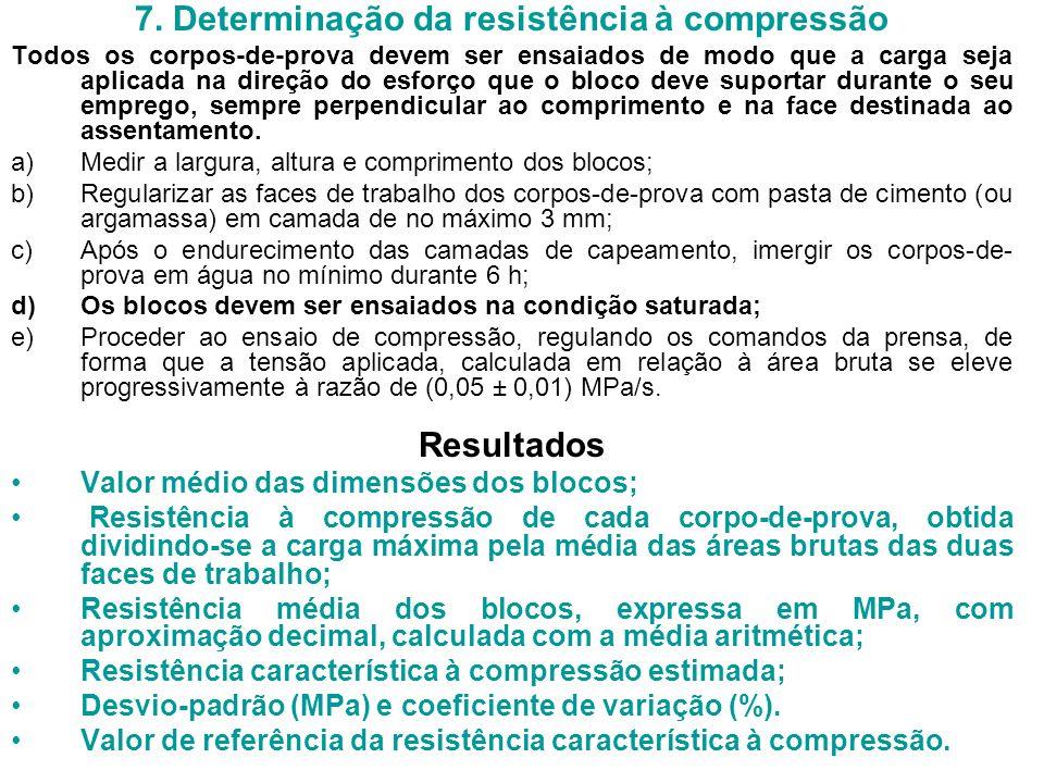 7. Determinação da resistência à compressão Todos os corpos-de-prova devem ser ensaiados de modo que a carga seja aplicada na direção do esforço que o