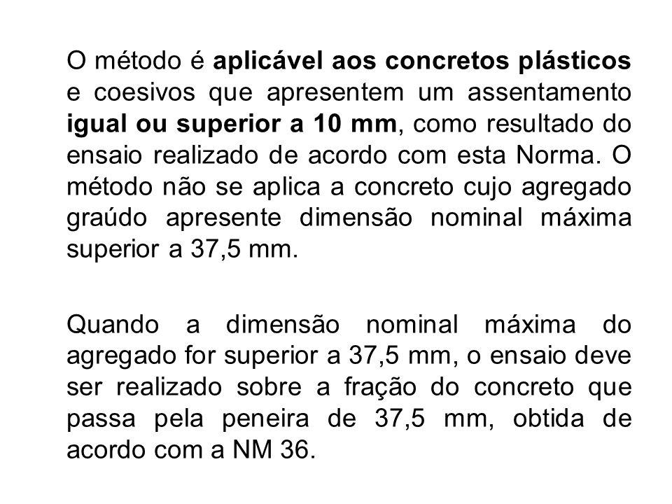 O método é aplicável aos concretos plásticos e coesivos que apresentem um assentamento igual ou superior a 10 mm, como resultado do ensaio realizado d