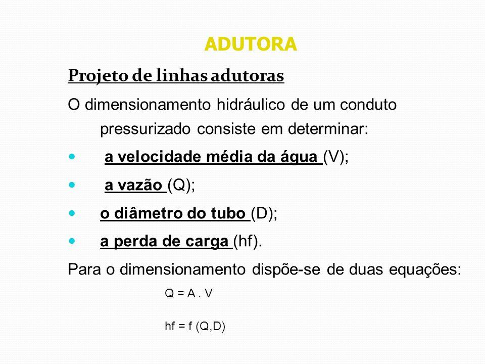 ADUTORA Projeto de linhas adutoras O dimensionamento hidráulico de um conduto pressurizado consiste em determinar: a velocidade média da água (V); a v