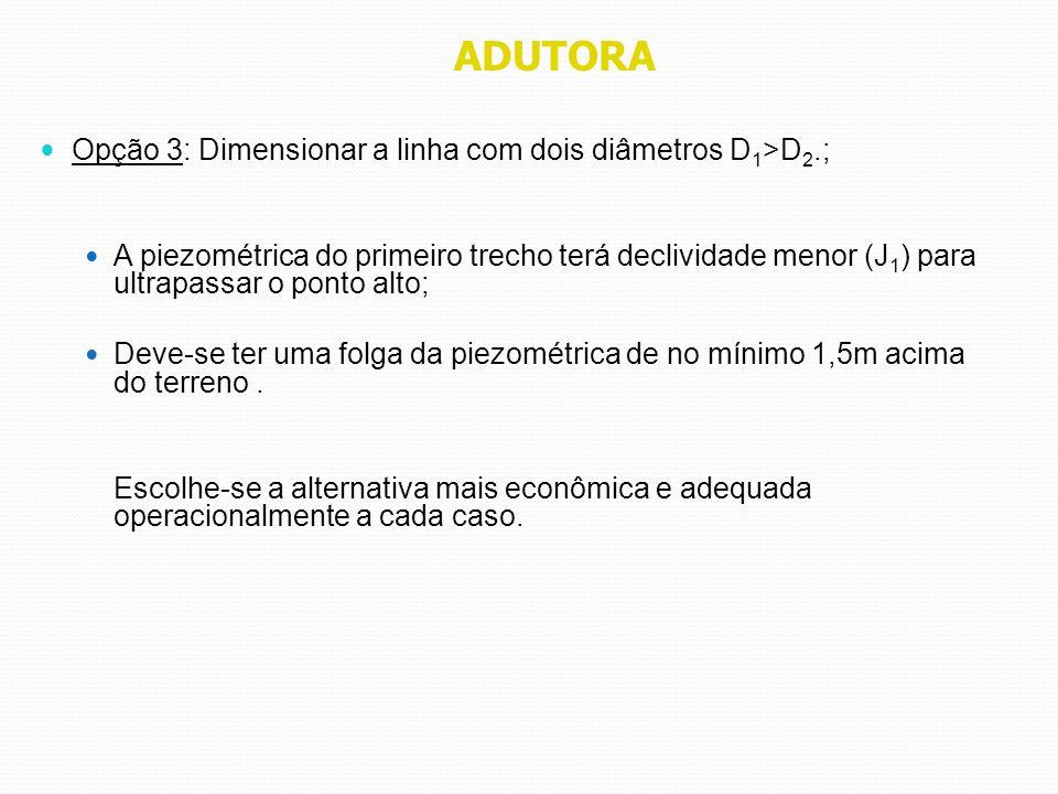 ADUTORA Opção 3: Dimensionar a linha com dois diâmetros D 1 >D 2.; A piezométrica do primeiro trecho terá declividade menor (J 1 ) para ultrapassar o