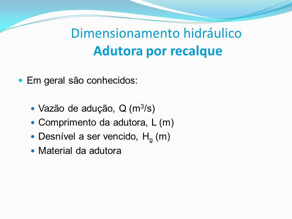 Dimensionamento hidráulico Adutora por recalque Em geral são conhecidos: Vazão de adução, Q (m 3 /s) Comprimento da adutora, L (m) Desnível a ser venc