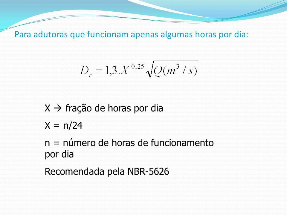 Para adutoras que funcionam apenas algumas horas por dia: X fração de horas por dia X = n/24 n = número de horas de funcionamento por dia Recomendada