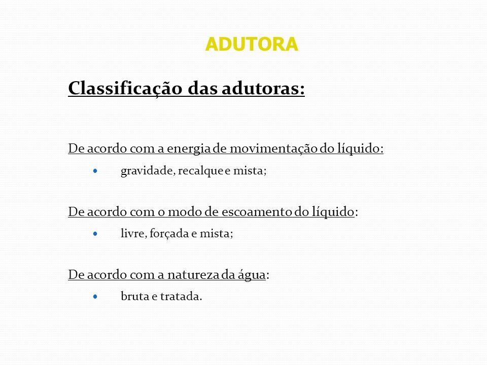 Classificação das adutoras: De acordo com a energia de movimentação do líquido: gravidade, recalque e mista; De acordo com o modo de escoamento do líq