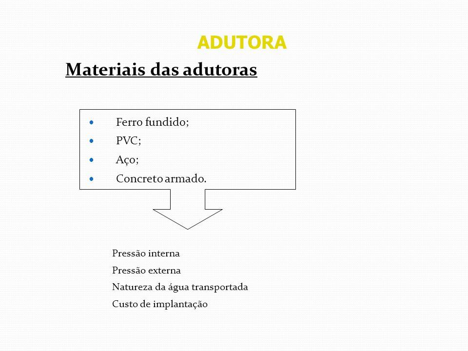 ADUTORA Materiais das adutoras Ferro fundido; PVC; Aço; Concreto armado. Pressão interna Pressão externa Natureza da água transportada Custo de implan