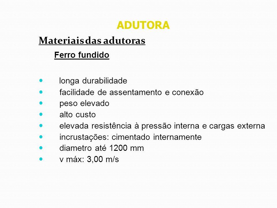 ADUTORA Materiais das adutoras Ferro fundido longa durabilidade facilidade de assentamento e conexão peso elevado alto custo elevada resistência à pre