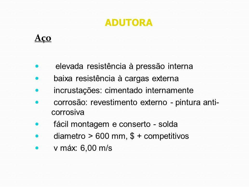 ADUTORA Aço elevada resistência à pressão interna baixa resistência à cargas externa incrustações: cimentado internamente corrosão: revestimento exter