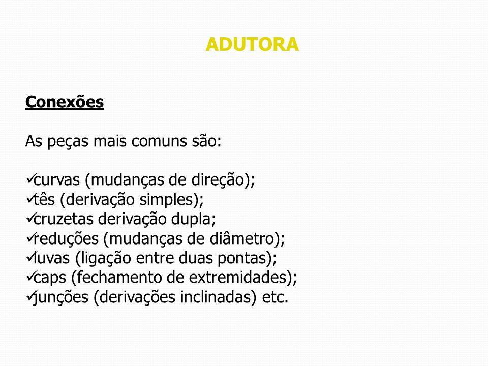 ADUTORA Conexões As peças mais comuns são: curvas (mudanças de direção); tês (derivação simples); cruzetas derivação dupla; reduções (mudanças de diâm