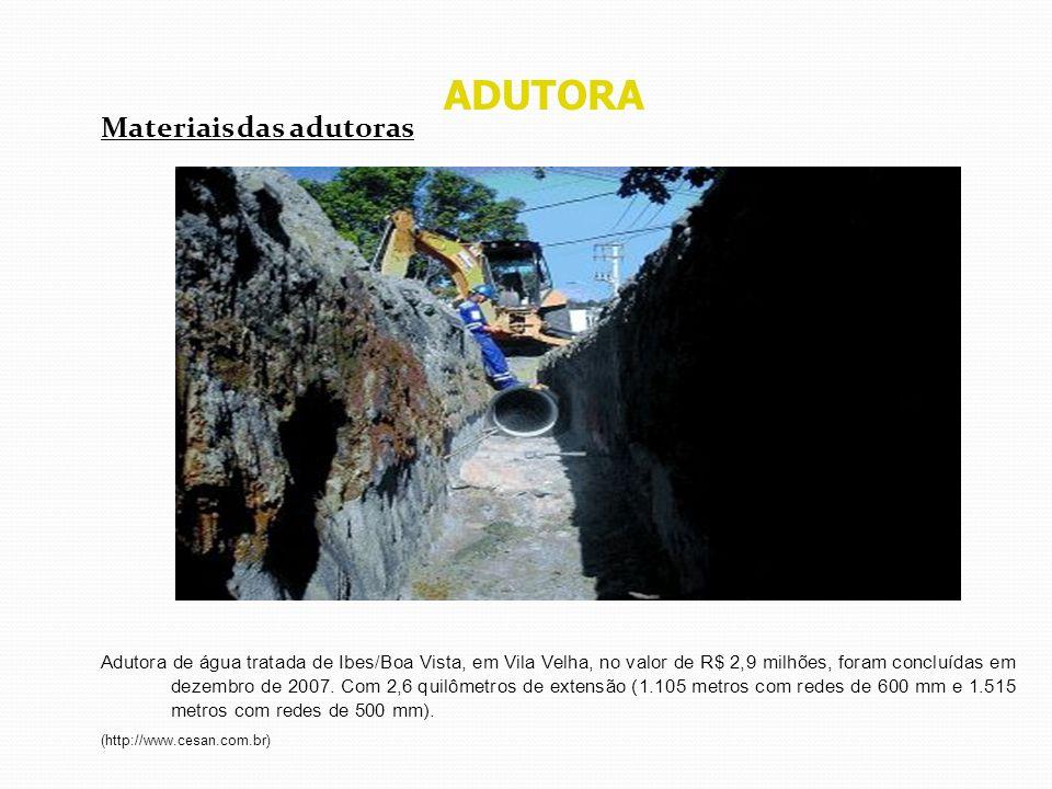 ADUTORA Materiais das adutoras Adutora de água tratada de Ibes/Boa Vista, em Vila Velha, no valor de R$ 2,9 milhões, foram concluídas em dezembro de 2
