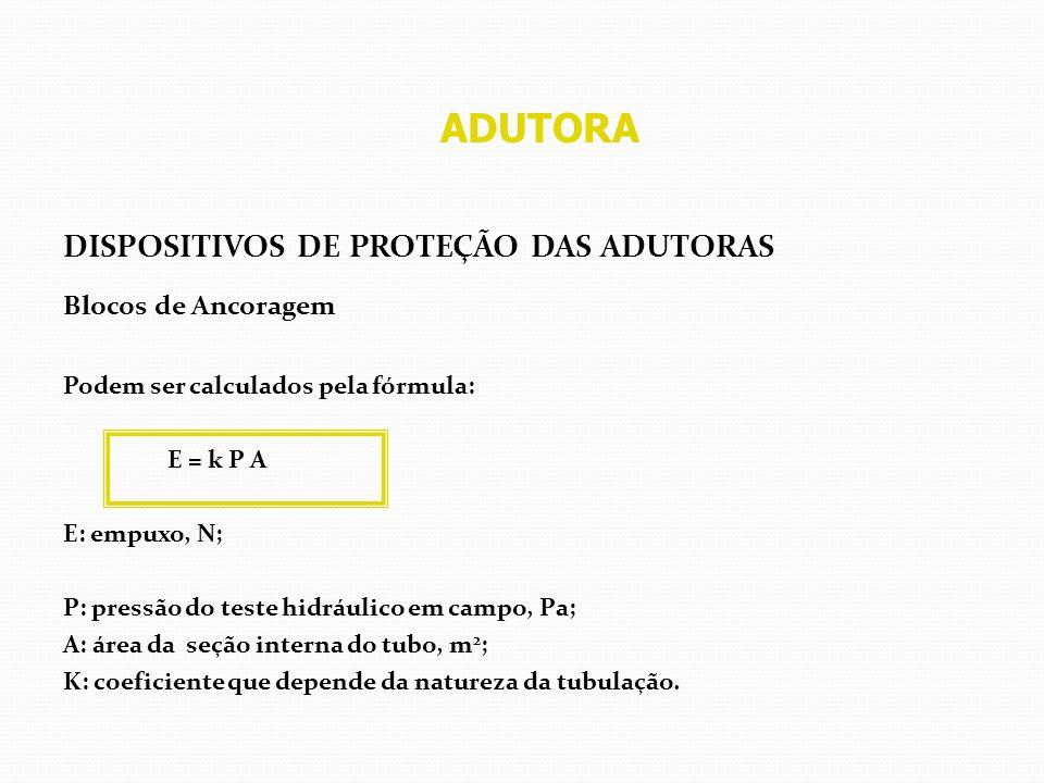 ADUTORA DISPOSITIVOS DE PROTEÇÃO DAS ADUTORAS Blocos de Ancoragem Podem ser calculados pela fórmula: E = k P A E: empuxo, N; P: pressão do teste hidrá