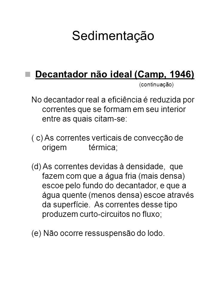 Sedimentação Decantador não ideal (Camp, 1946) (continuação) No decantador real a eficiência é reduzida por correntes que se formam em seu interior en