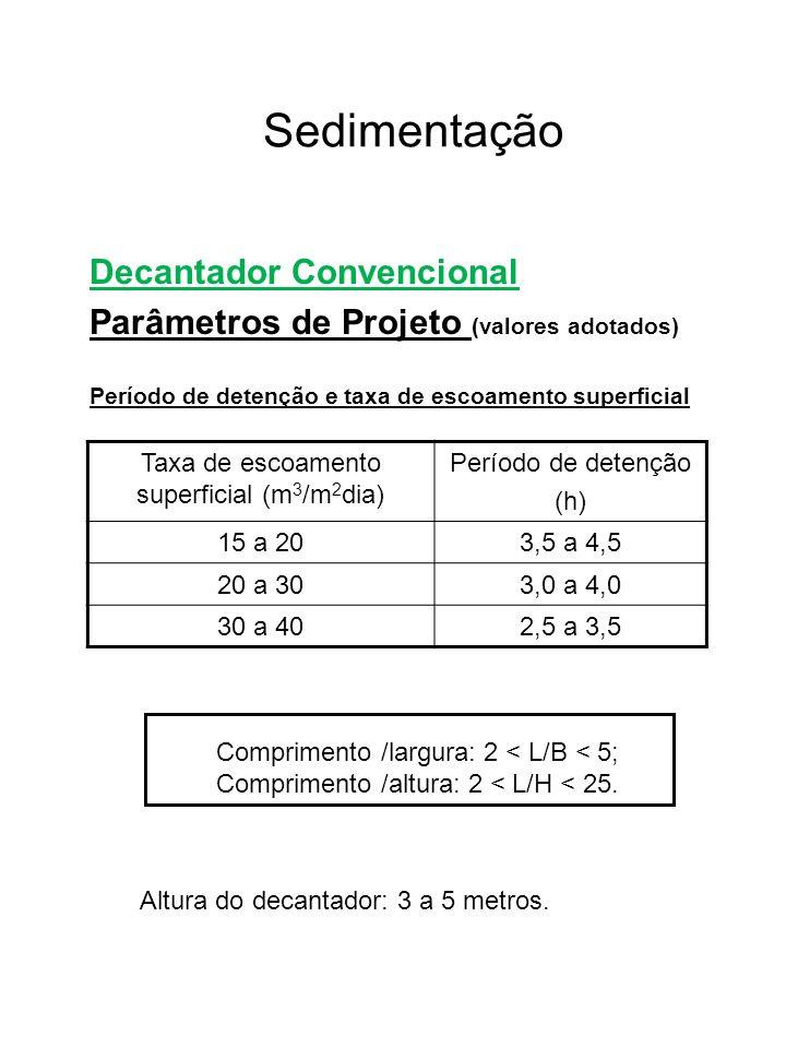 Sedimentação Decantador Convencional Parâmetros de Projeto (valores adotados) Período de detenção e taxa de escoamento superficial Taxa de escoamento