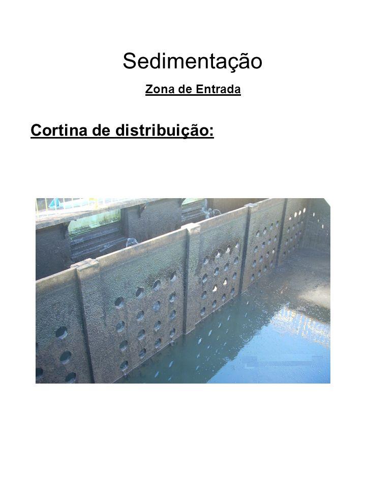 Sedimentação Cortina de distribuição: Zona de Entrada